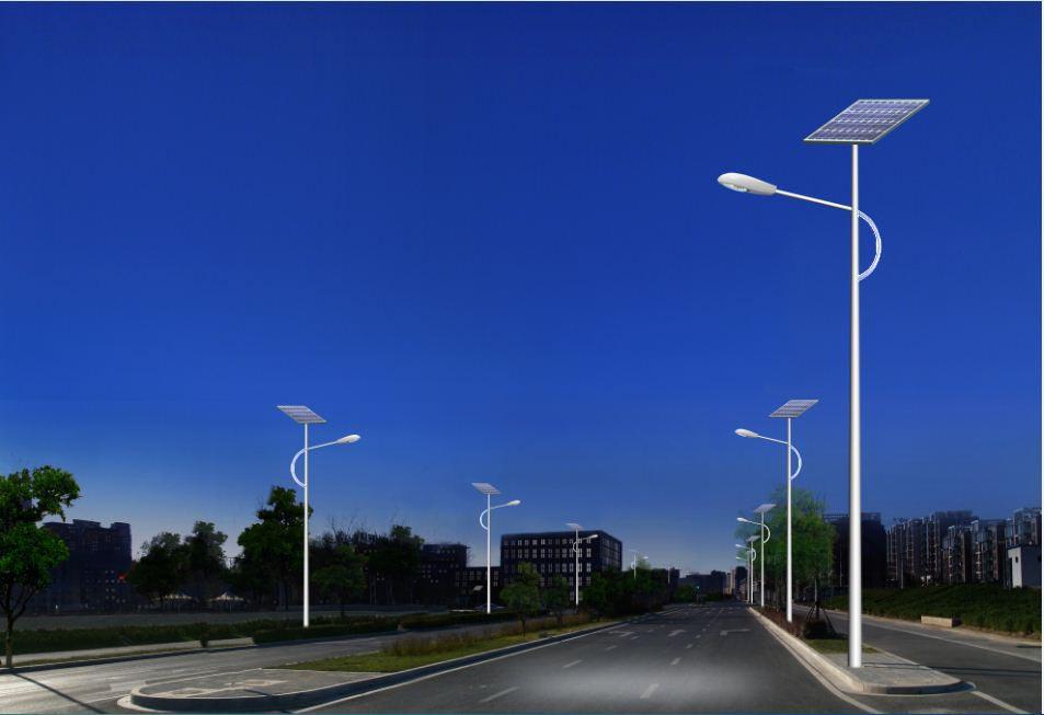 不锈钢锥形半圆灯臂太阳能路灯