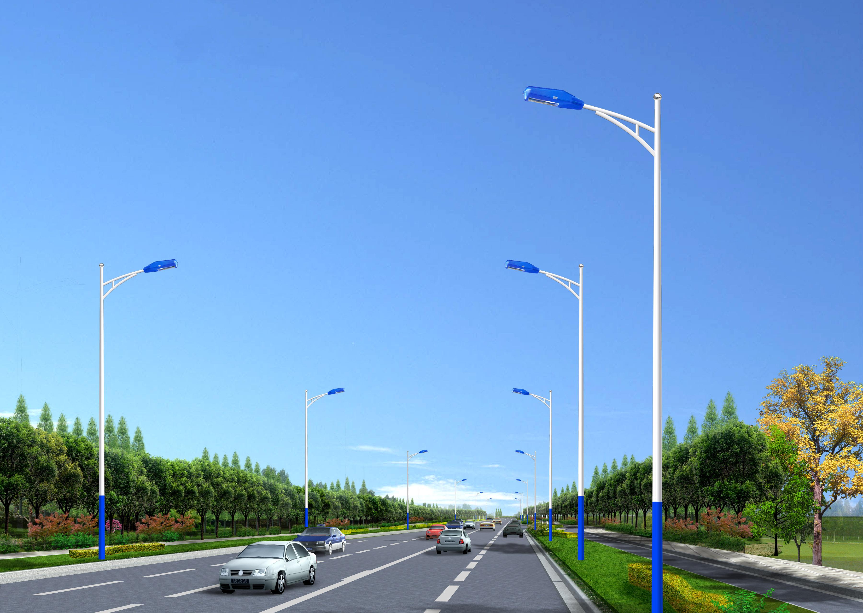 下蓝上白A字臂太阳能路灯