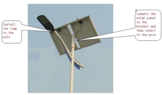 太阳能路灯LED灯头与断翅光伏板连接