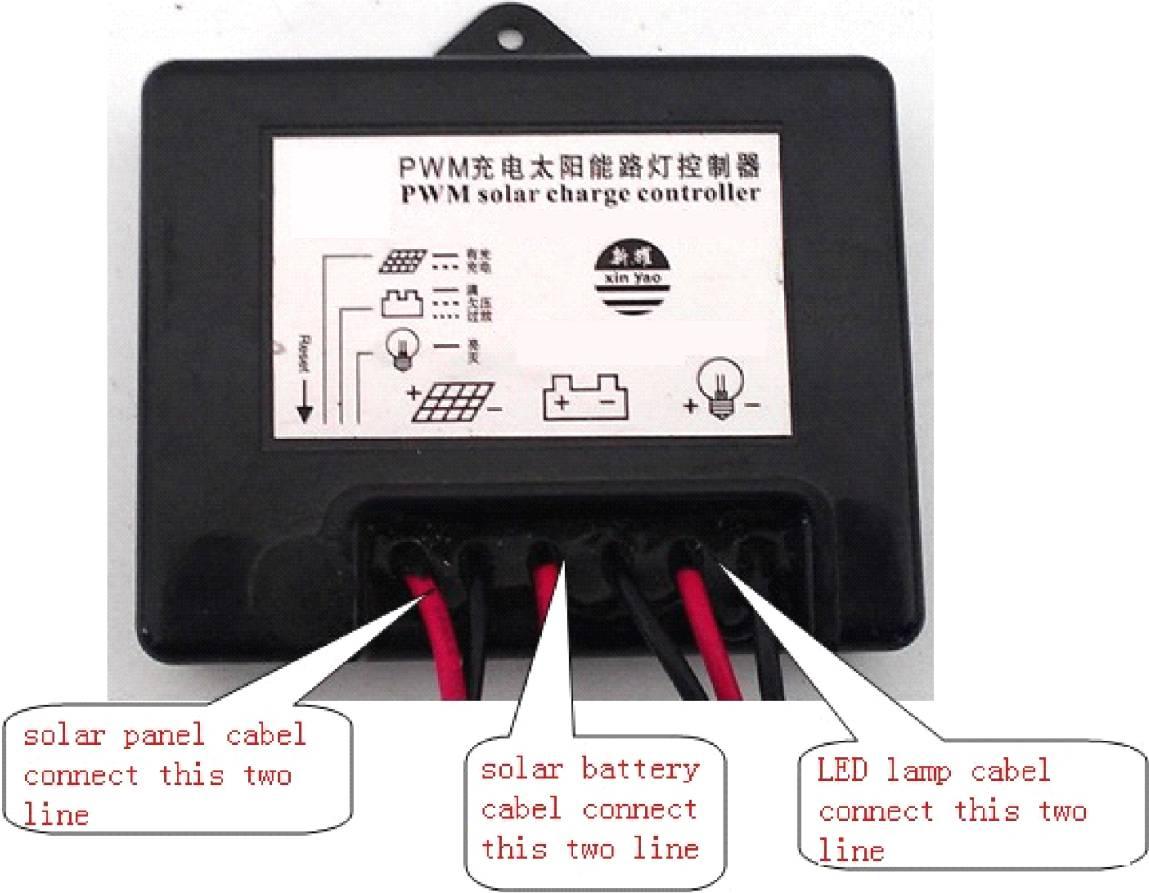 将太阳能路灯导线电缆与控制器连接