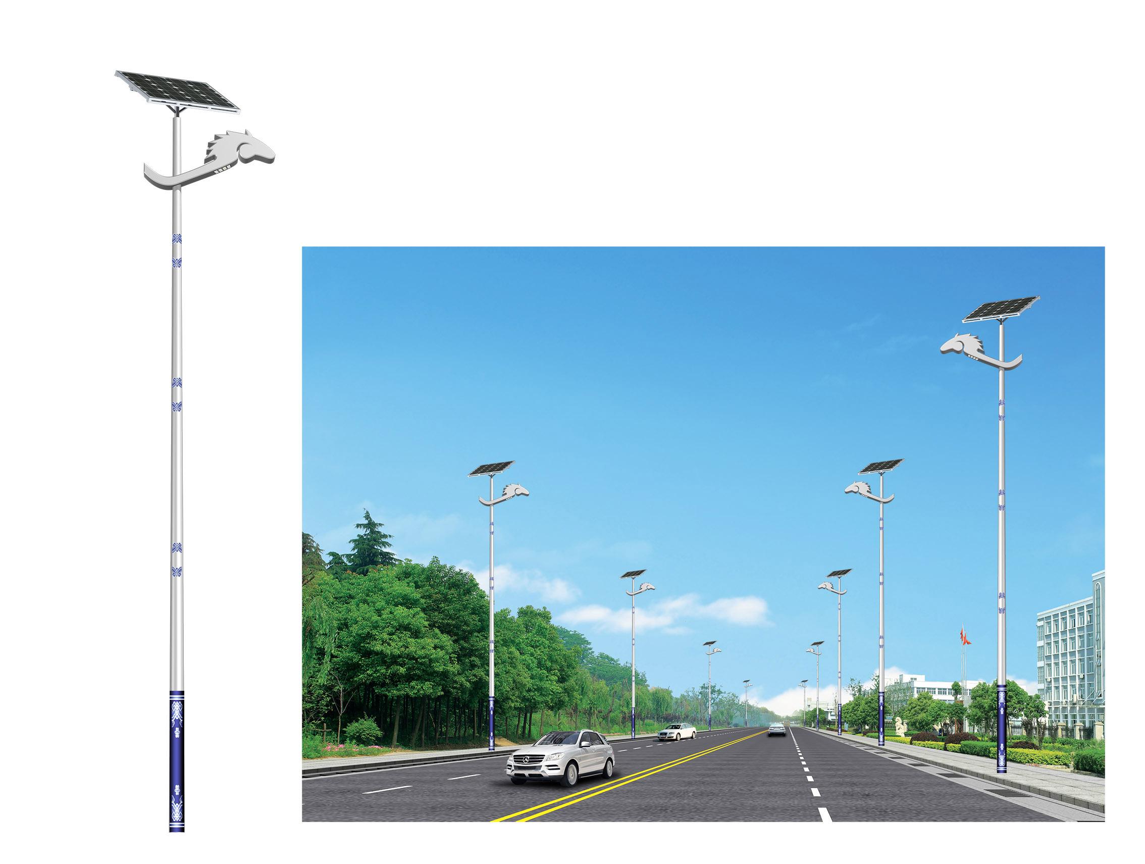 河南省平顶山某道路安装的特色太阳能路灯