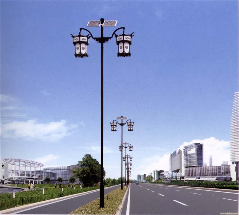 河南太阳能灯厂家生产的双灯头太阳能LED灯