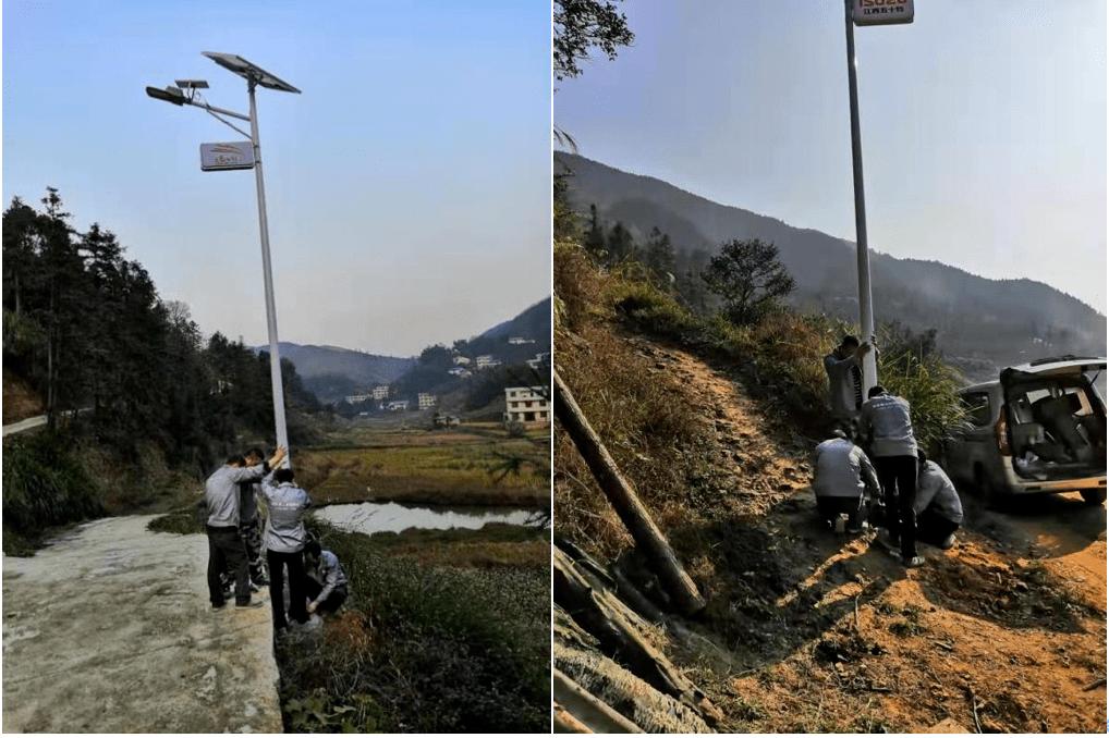 河南省新乡市农村太阳能路灯立杆安装
