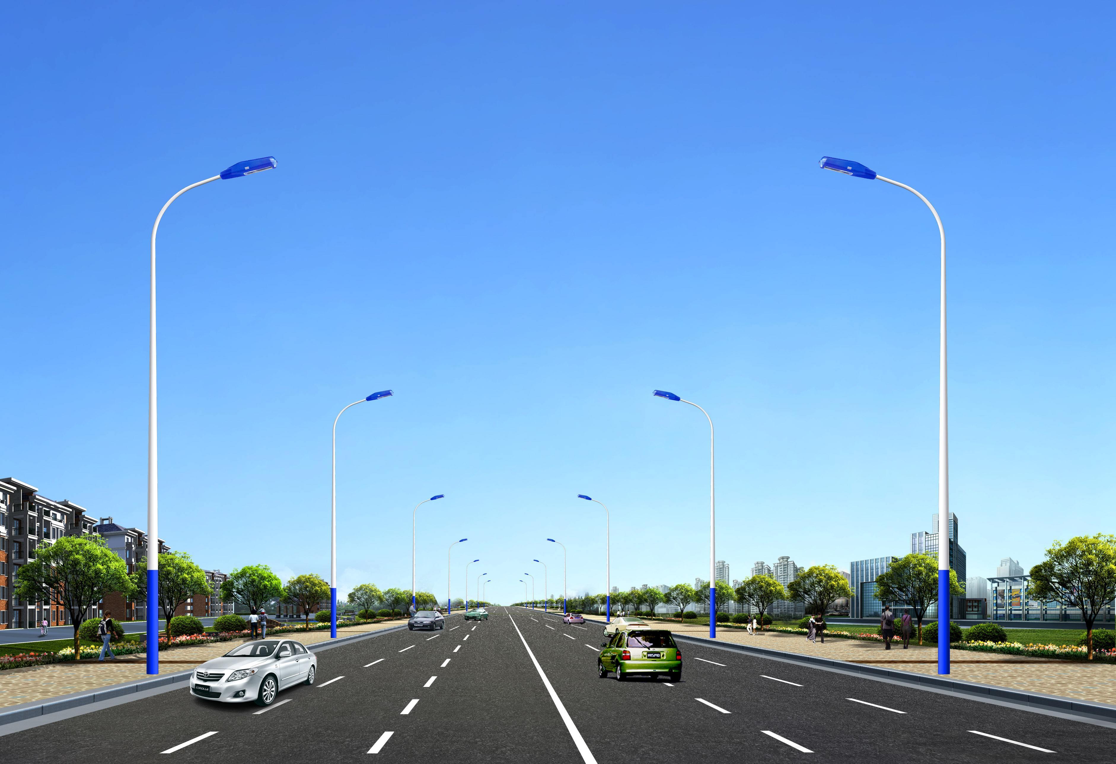 河南省郑州市城市道路上的自弯臂LED路灯