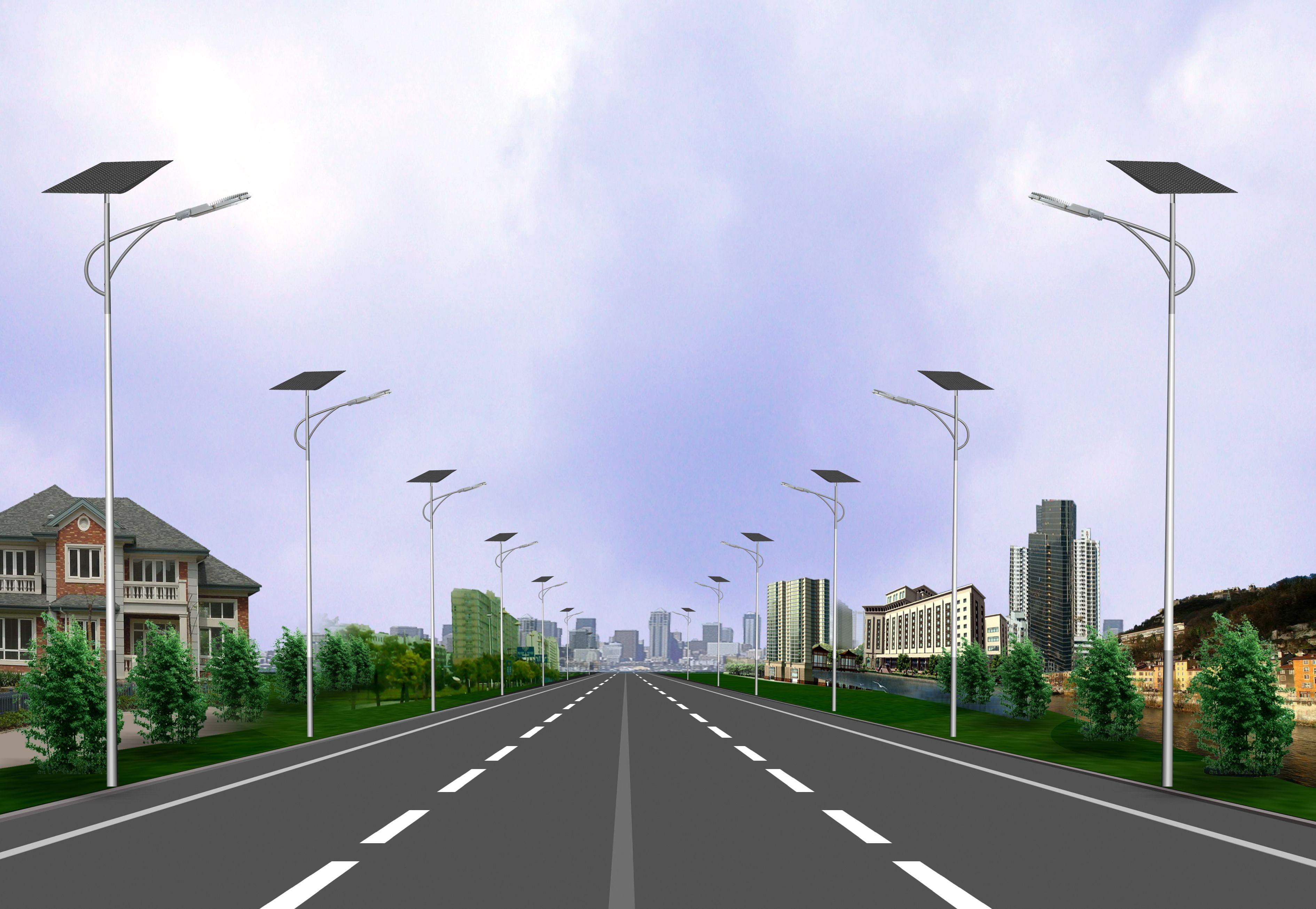 河南郊区的6米太阳能路灯