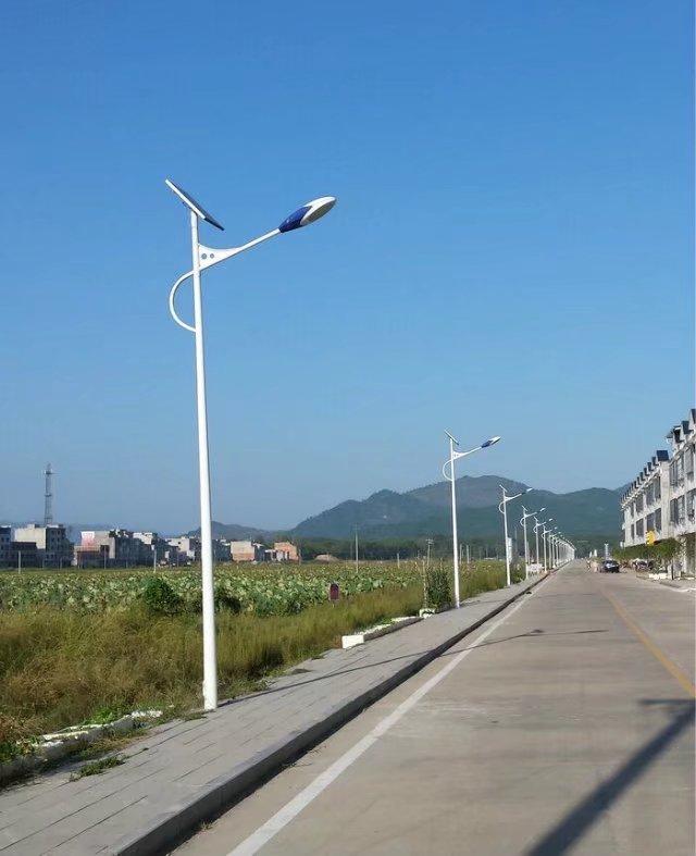 河南省郑州市郊区夏季道路旁边的太阳能路灯