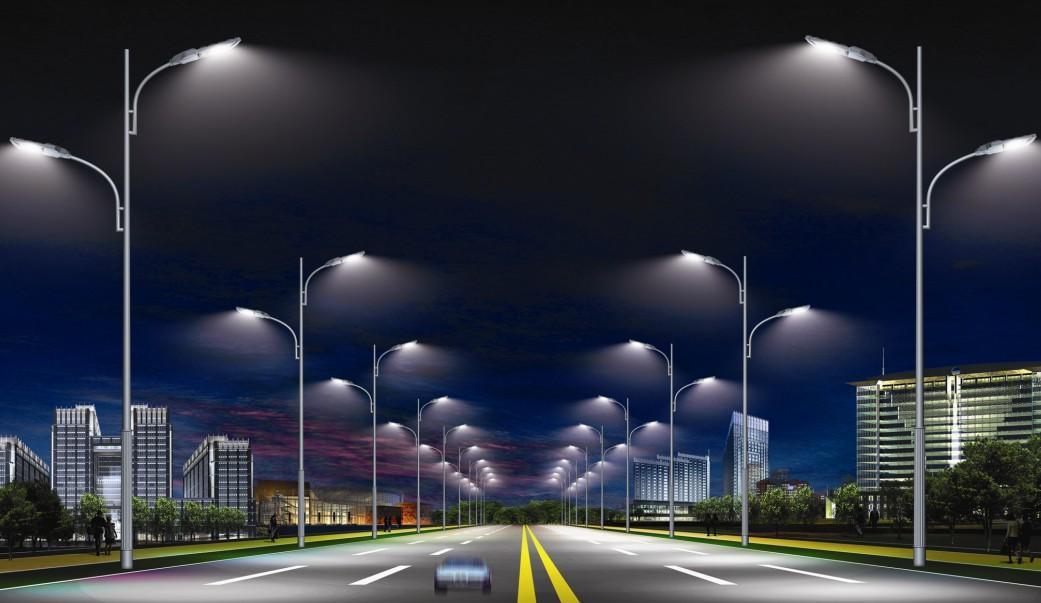 河南郑州路灯厂家生产的道路灯安装效果图
