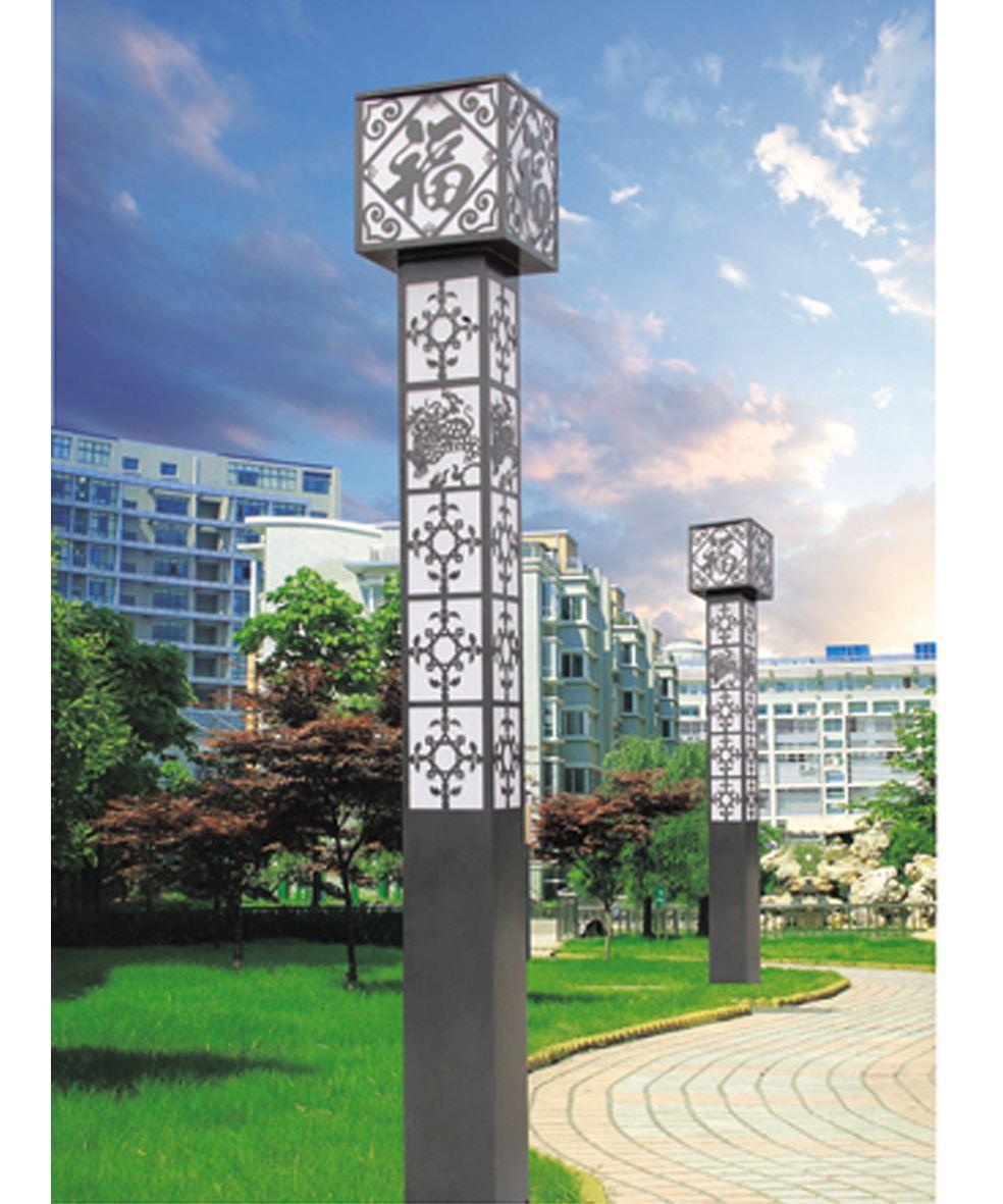 河南省郑州市某园区安装的景观灯方形造型