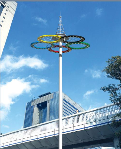 河南省郑州市某高架下面安装的高杆灯实拍