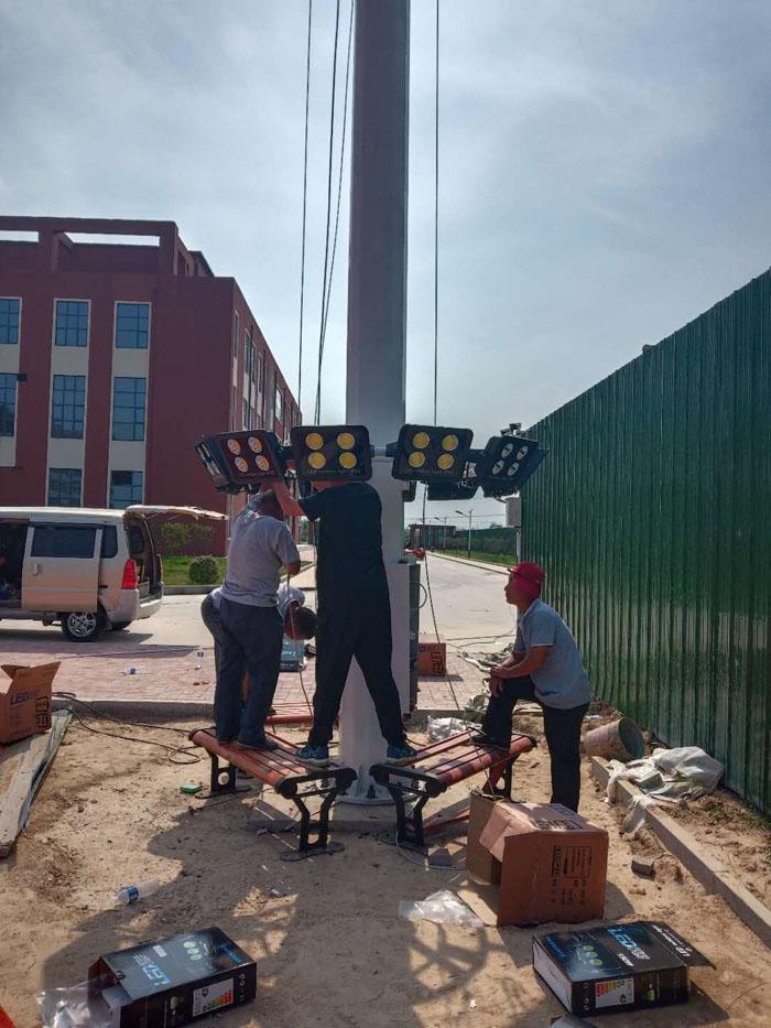 荥阳广场高杆灯项目现场实拍
